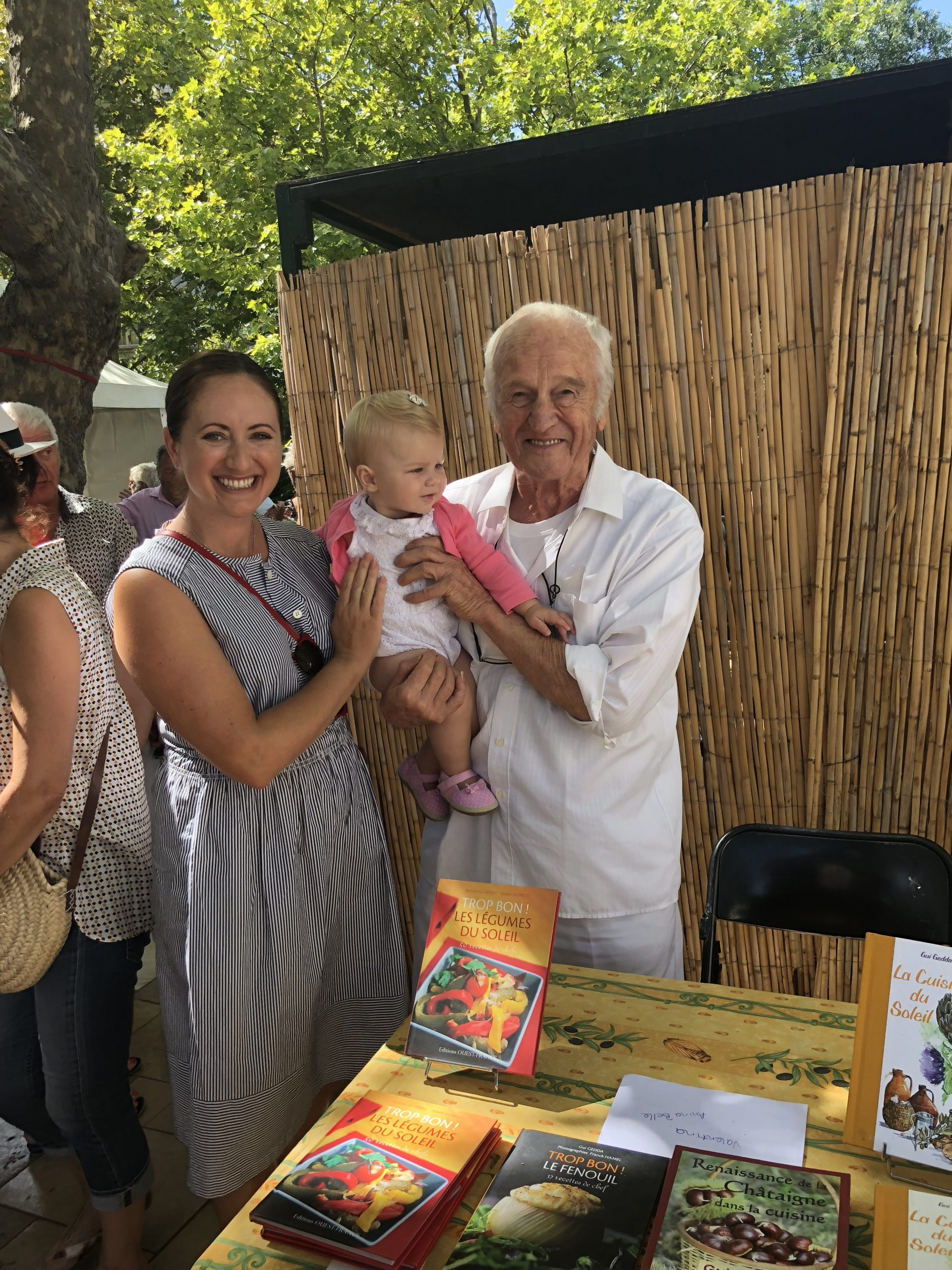 Chef Guy Gedda and the author at the Fig Festival in the South of France