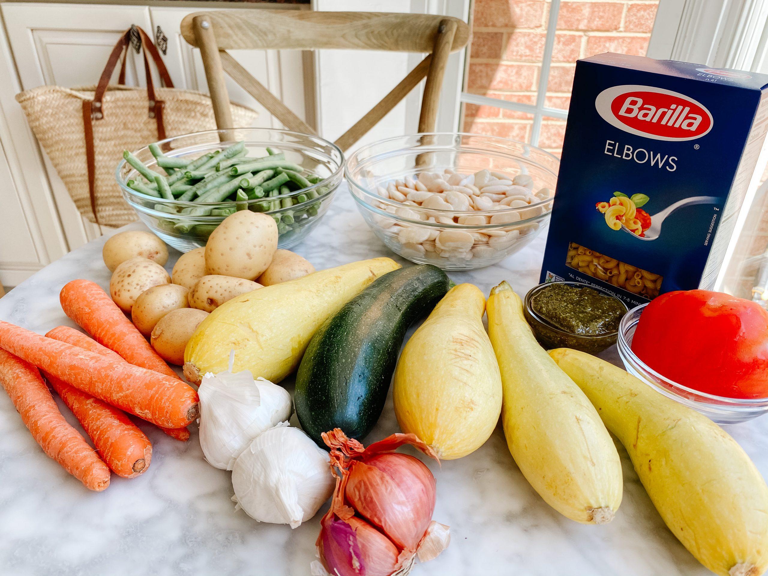 Soupe au Pistou Ingredients - squash, zucchini, carrots, potatoes, garlic, shallots, green beans, white beans, pasta