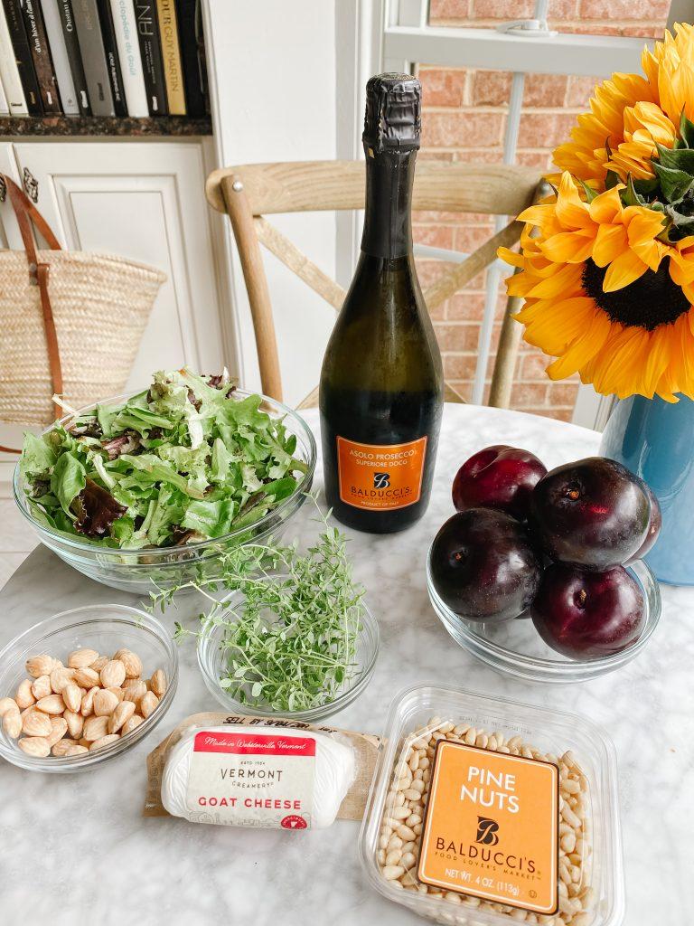 Roasted plum, goat cheese & lemon thyme salad ingredients