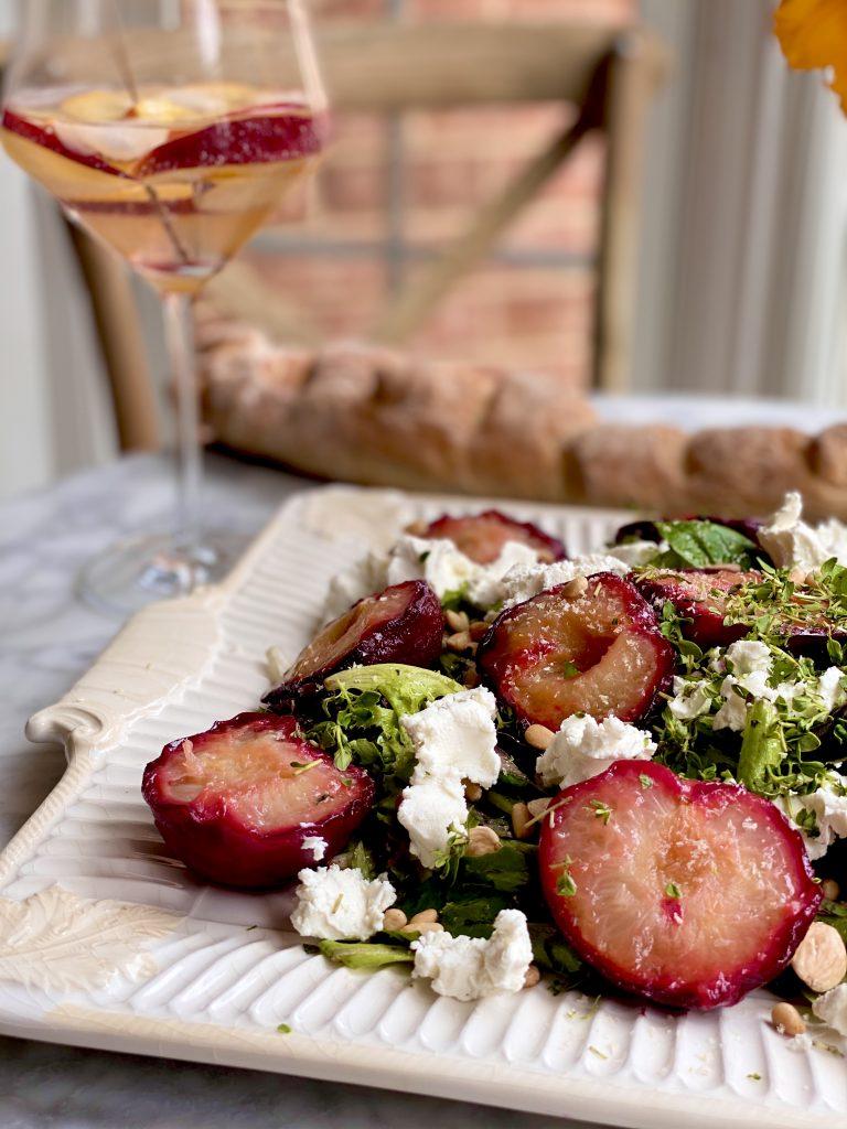 Roasted plum, goat cheese & lemon thyme salad