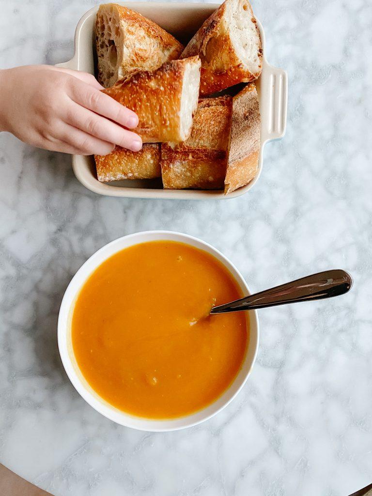 Fresh baguettes and Honeynut Squash and Pumpkin Soup