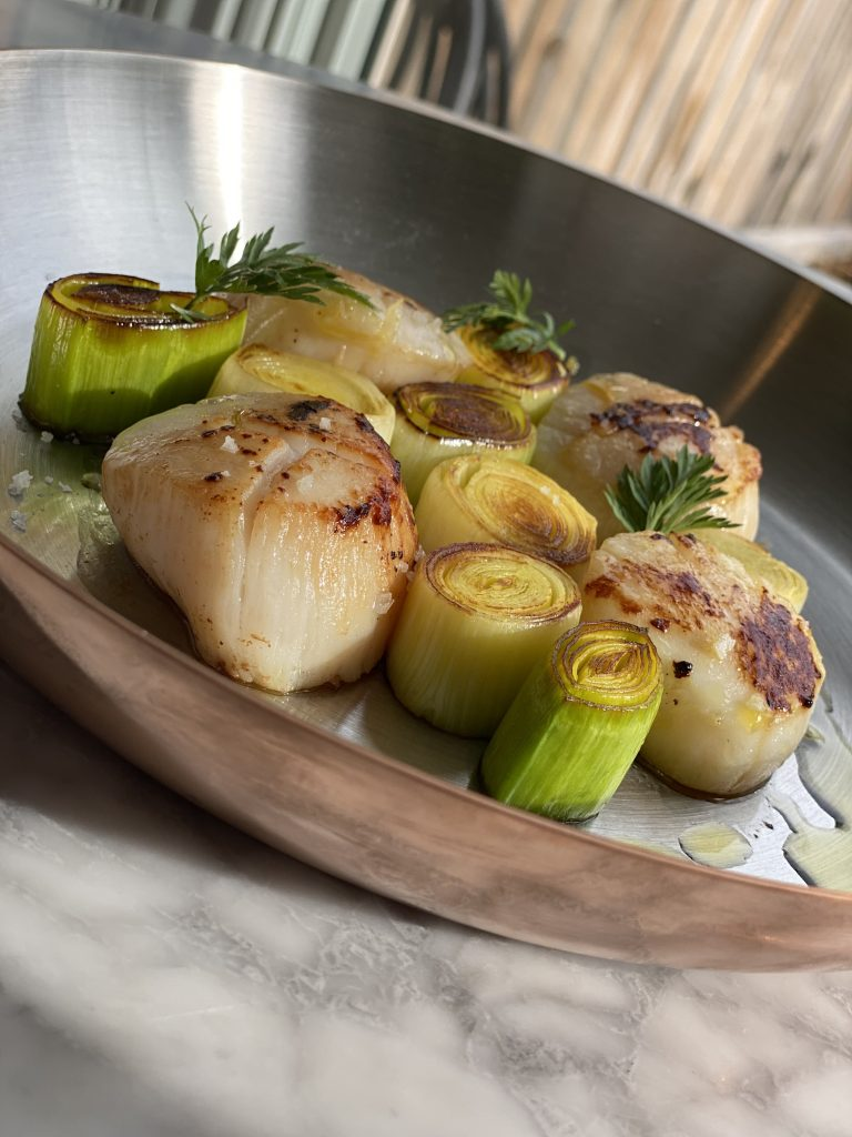 Sea Scallops with leeks