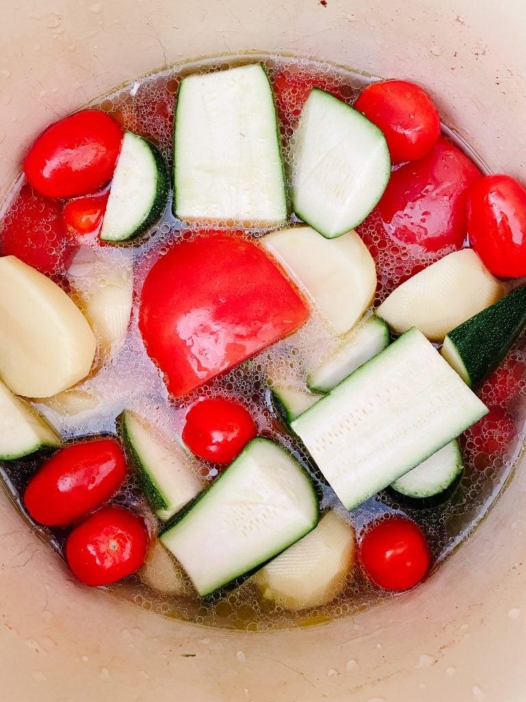 making Potage aux légumes