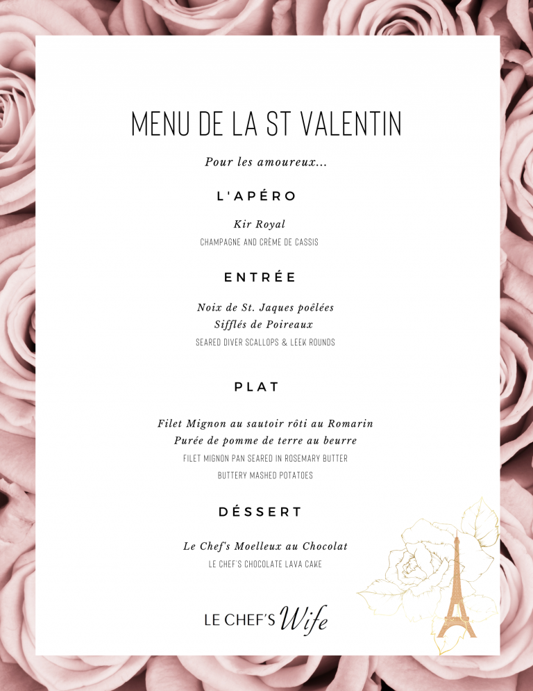 Valentine's Day Menu