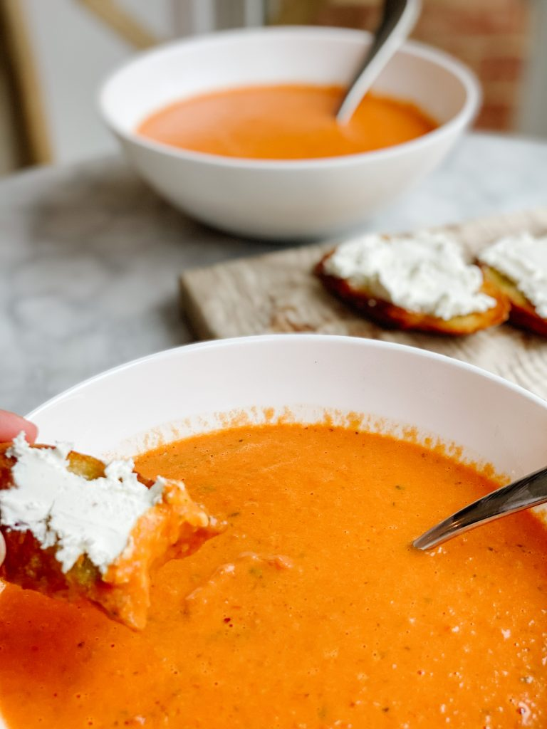 tomato soup with goat cheese tartine