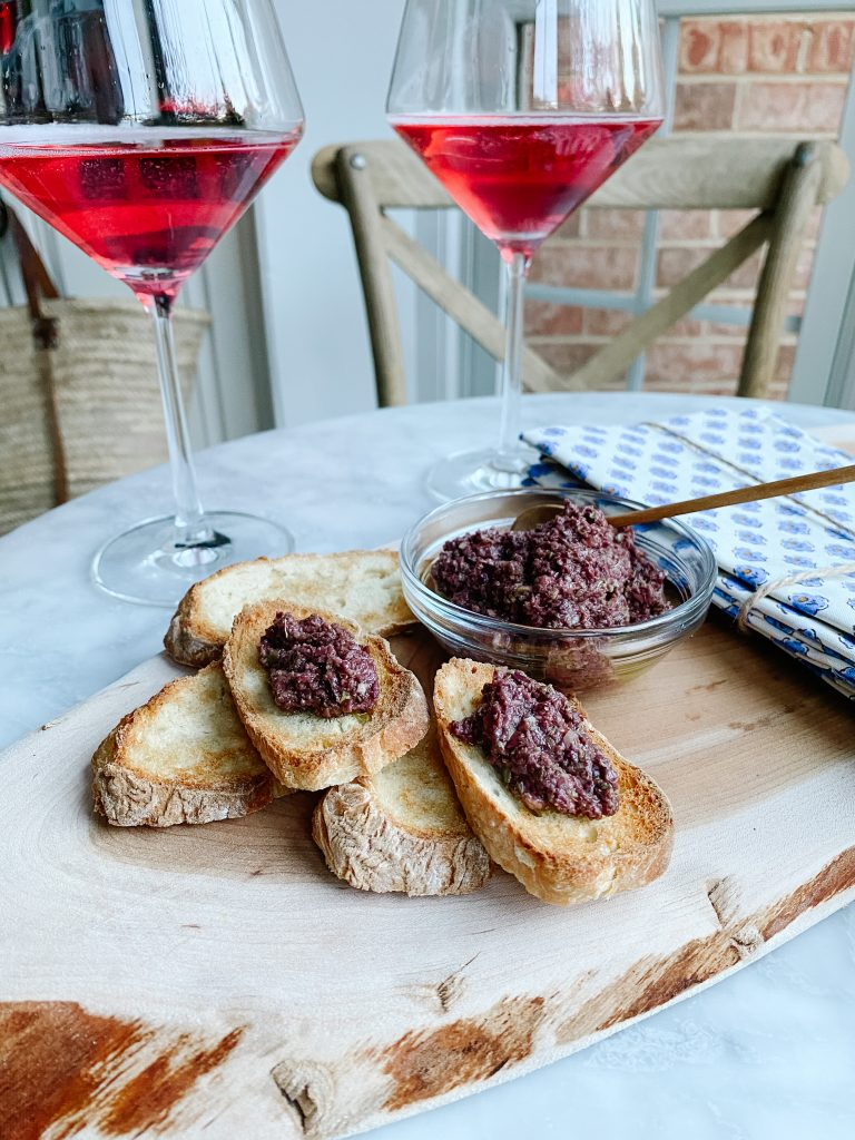 Kir Royal and tapenade