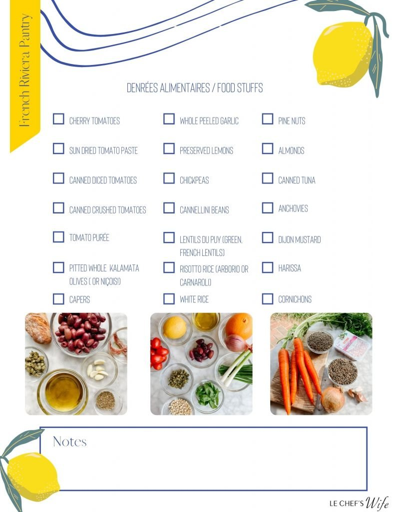 French Riviera Pantry Essentials Checklist. Blue squares with blue type. A yellow lemon in each corner. photos of bowls of ingredients