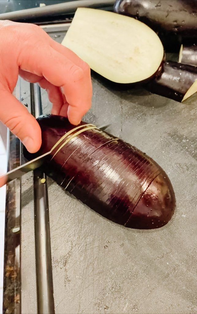 Slicing the Eggplant thinly