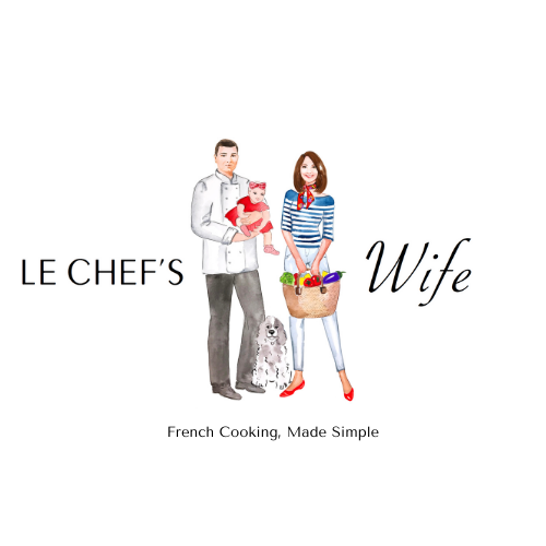 Logo illustration of a Chef with a woman in a striped top a baby and a dog