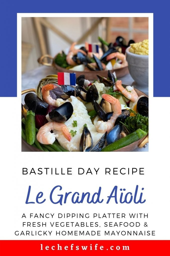 French Flag, 2 copper plates with Le Grand Aïoli, shrimp, cod, fresh vegetables, mussels a french baguette and aïoli