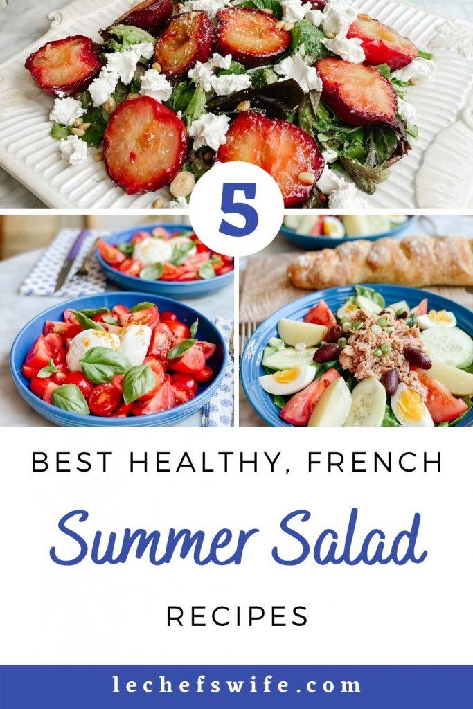 roasted plum and goat cheese salad, tomato and burrata salad, nicoise salad all on a blue plates