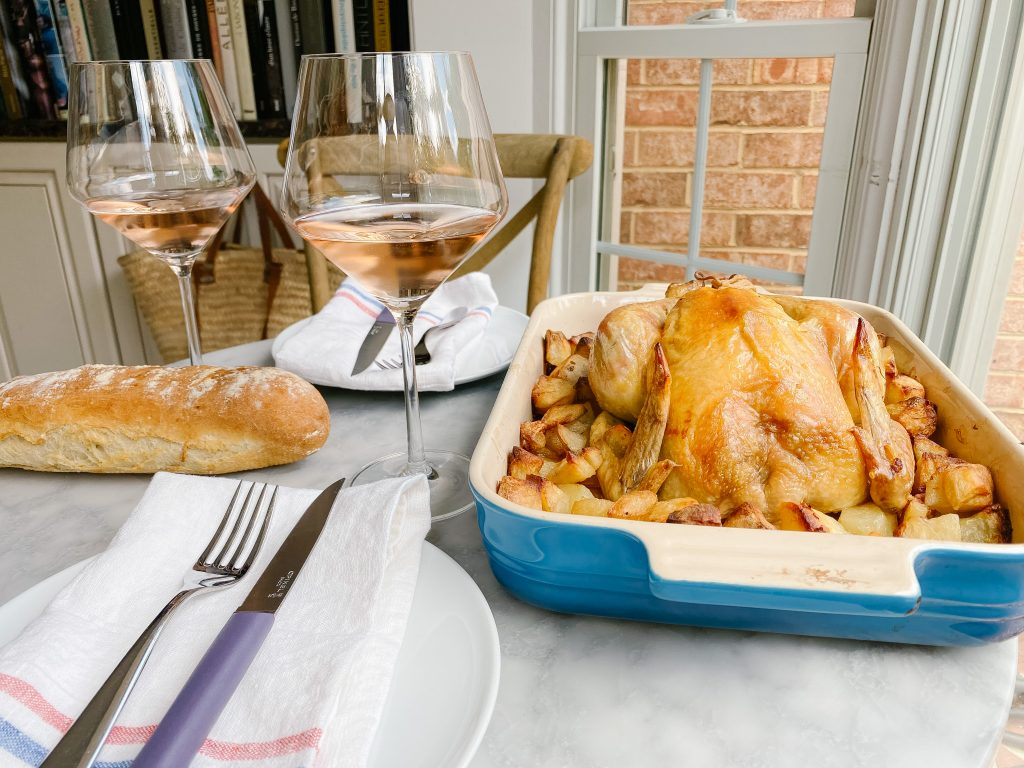 Roast Chicken and baguette
